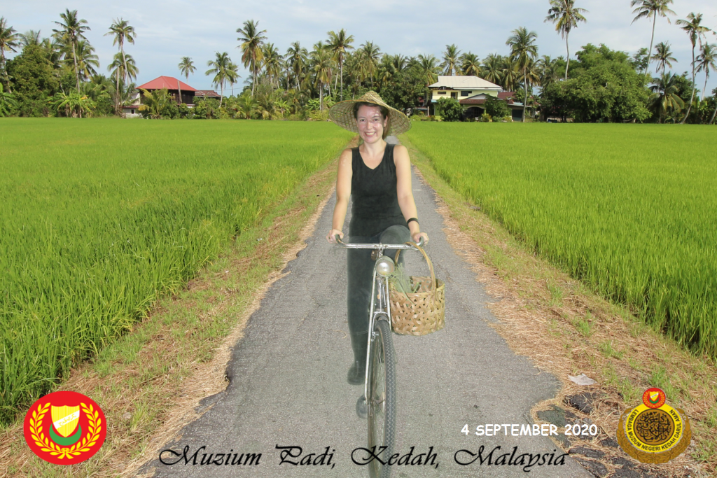 Create memories in Kedah paddy field museum with a background photo