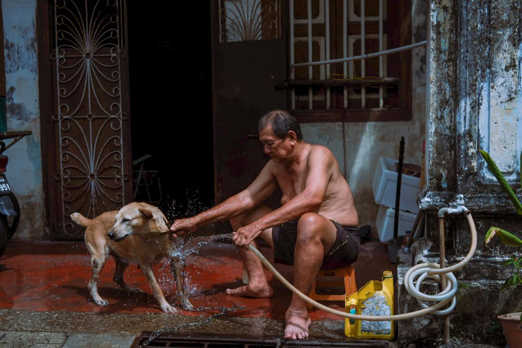 A man giving a bath to his dog outside his house on a hot day in George Town