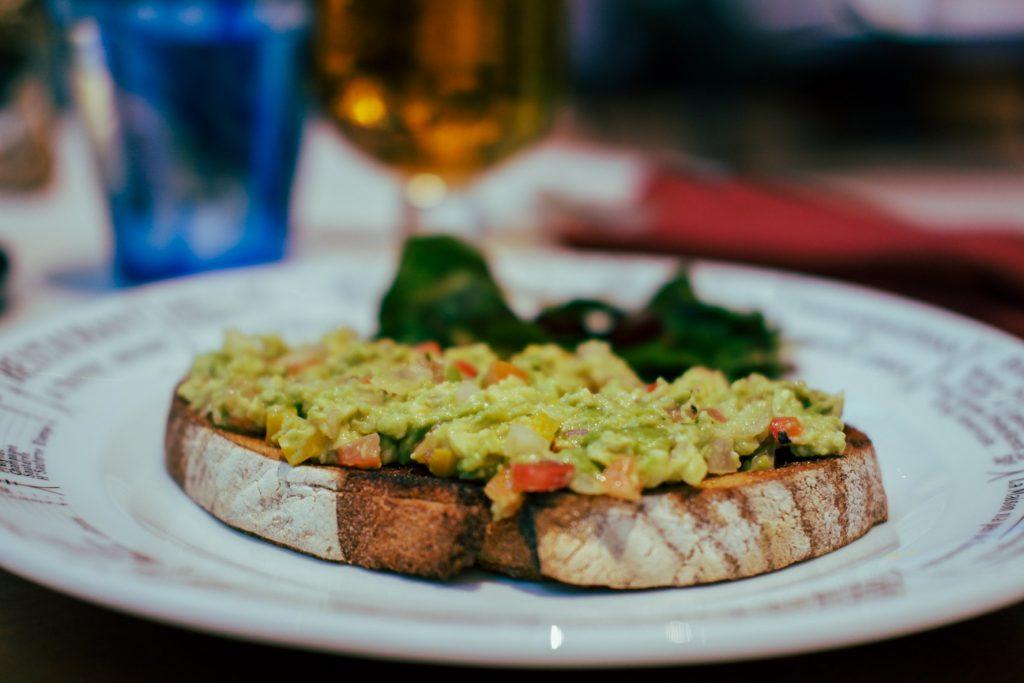 Avocado toast in focus