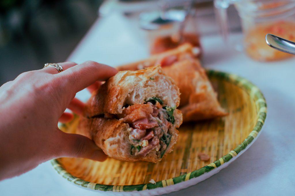 A close upof bahn mi Vietnamese sandwich