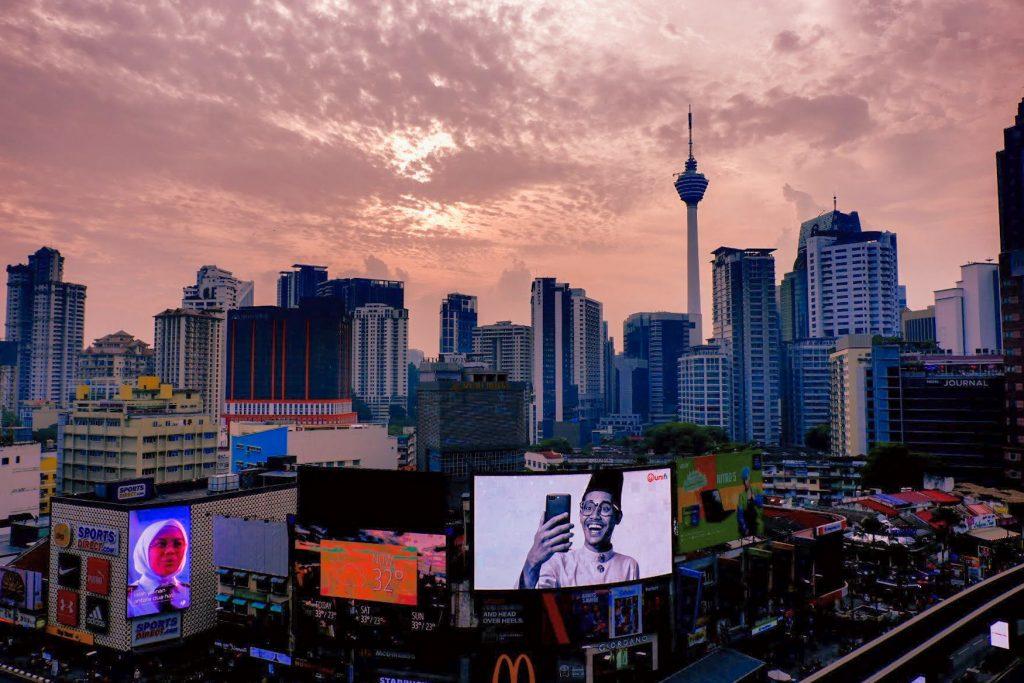 Skyline in Kuala Lumpur during golden hour